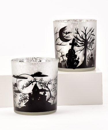 Mercury Glass Candle Holder, 2 Asst.