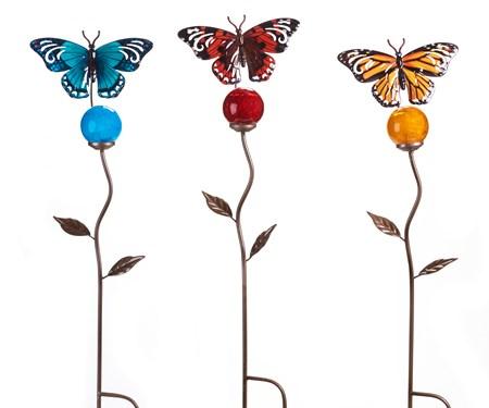 Glow in the Dark Butterfly Garden Stake, 3 Asst.