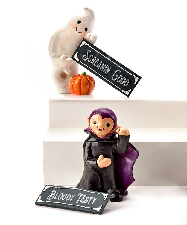 Resin Figurines with Chalkboard, 2 Asst.
