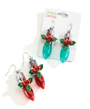 Flashing Holiday Earrings w/ Displayer, 24 Pcs./3 Asst.