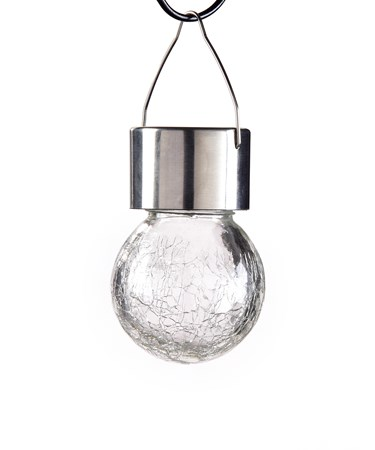 Hanging Crackled Glass Solar Light w/Displayer