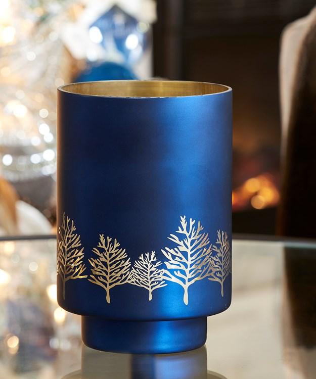 Large Blue Hurricane Design Candle Holder