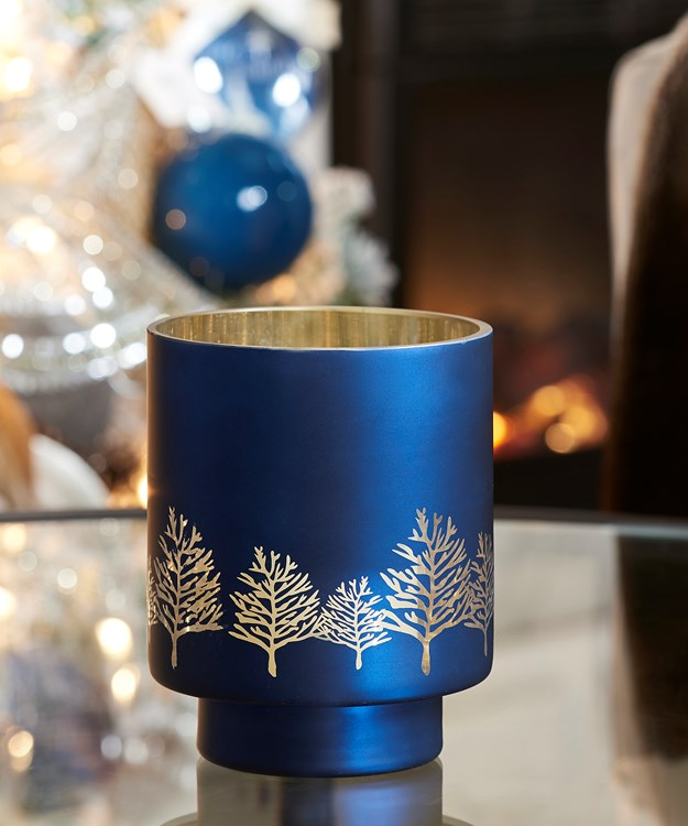 Small Blue Hurricane Design Candle Holder