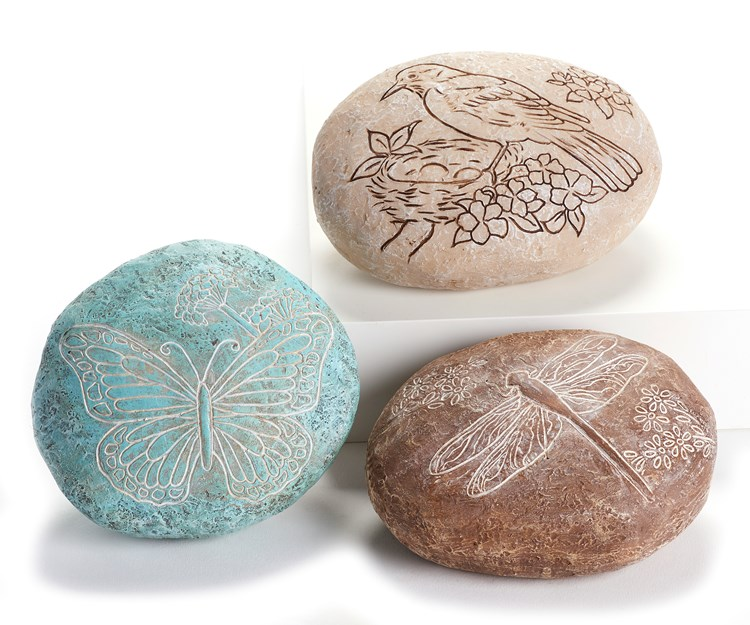 Poly Resin Stones, 3 Asst w/Displayer