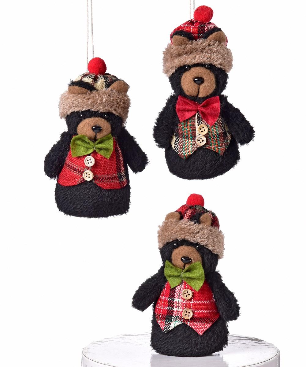 Black Bear Design Ornament, 3  Asst. w/Displayer