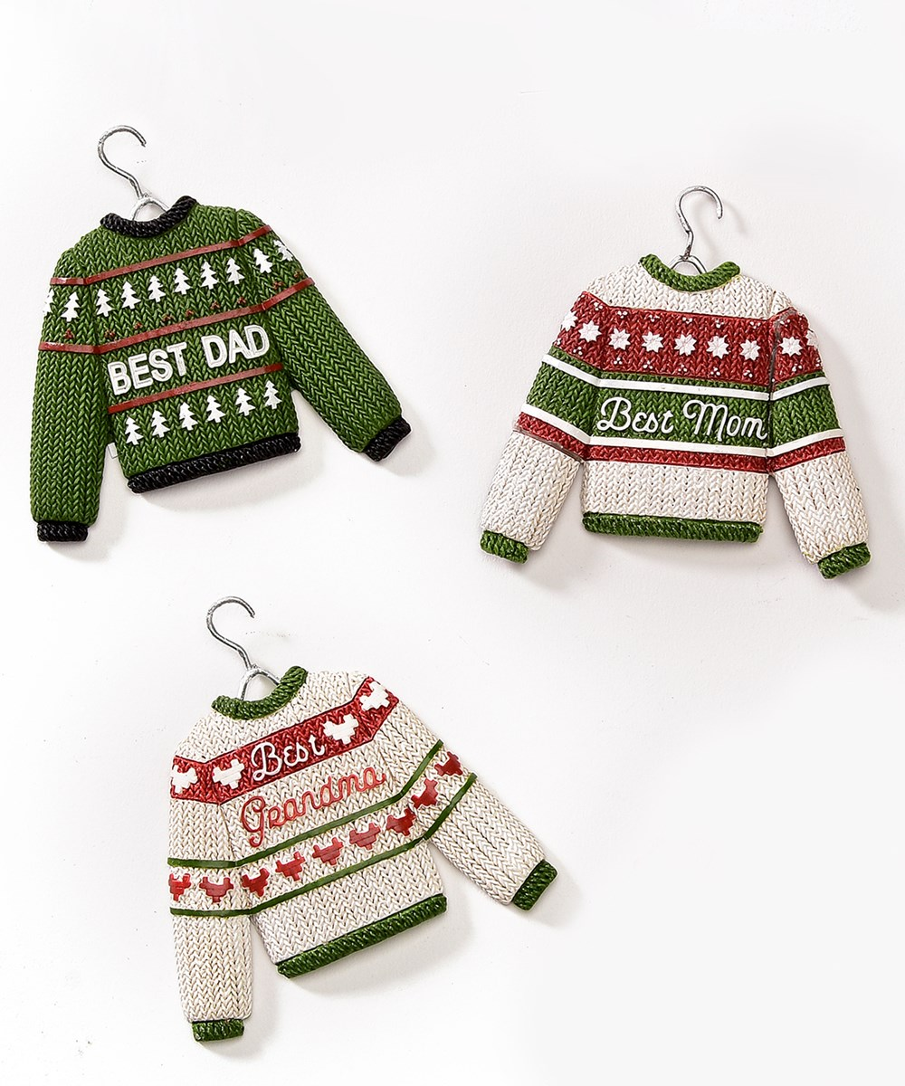 Christmas Sweater Design Ornaments, 3 Asst.