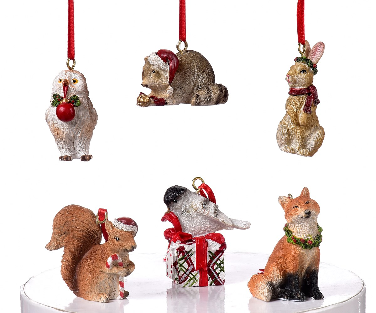 Christmas Animal Design Ornaments, 6 Asst.