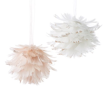 Feather Ball Ornament, 2 Asst.