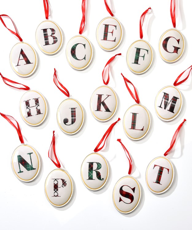 Avenue 9 Stay Cozy, Ceramic Initial Ornaments,16Asst