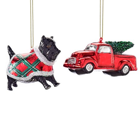 Avenue 9 Stay Cozy, Glass Dog&Truck Ornament, 2 Asst.