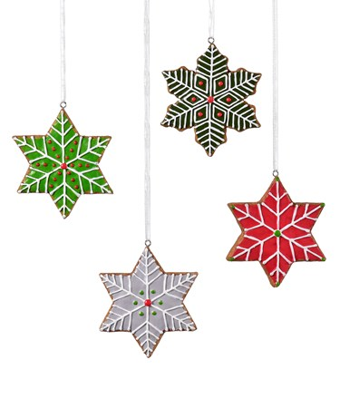 Snowflake Cookies Ornament, 4 Asst.