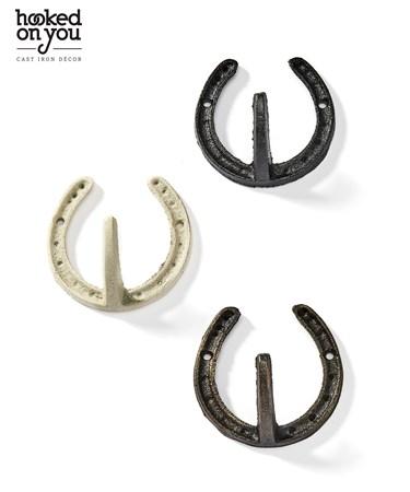 HorseShoeCastIronWallHook3Asst