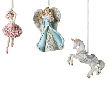 Polyresin Christmas Ornaments, 3 Asst.