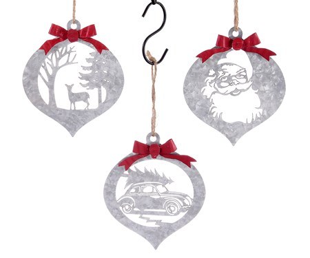 Iron Christmas Ornaments, 3 Asst.