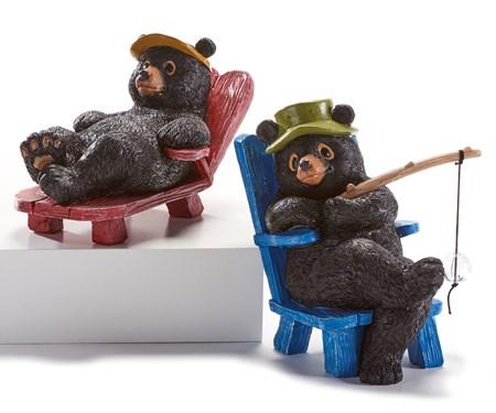 Poly Resin Large Bear Figurines, 2 Asst.
