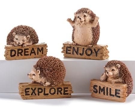 Hedgehog w/Sign Figurines, 4 Asst.