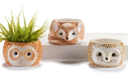 Ceramic Mini Planters, 3 Asst.