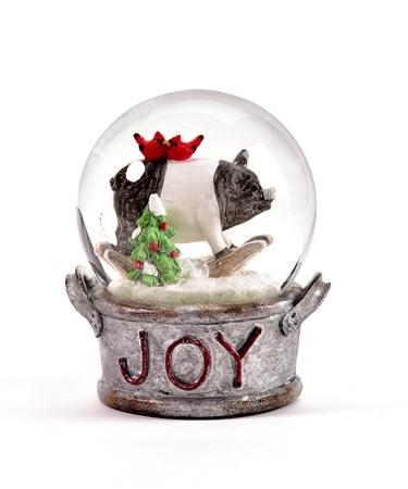 Polystone Pig Water Globe w/Joy