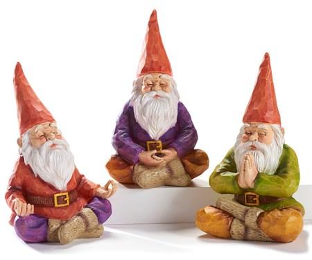 Poly Resin Meditation Gnomes, 3 Asst.