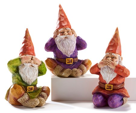Poly Resin Gnomes, 3 Asst.