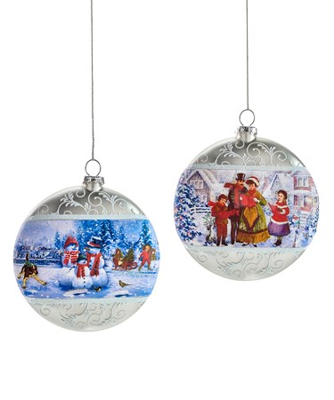 Glass Disk Carolers Orn.2Asst