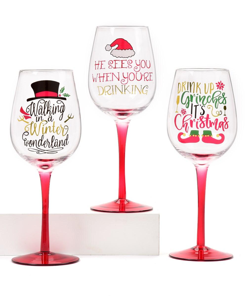 Wine Glass w/Red Base, 3 Asst.
