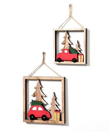 Red Car/Truck Design Ornament, Set/2