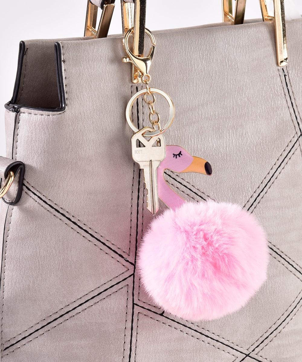 Pompom Flamingo Keychain w/Displayer