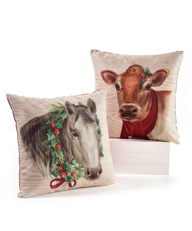 Polyester Christmas Pillow, 2 Asst.