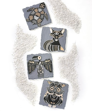 Poly Resin Stepping Stones/Wall Plaques, 4 Asst.