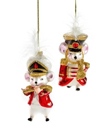 Glass Mouse Ornament, 2 Asst.