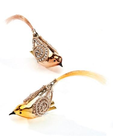 Glass Clip-On Bird Ornament, 2 Asst.
