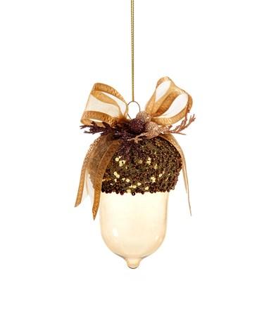 Glass Acorn w/Bow Design Ornament