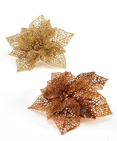 Poinsettia Clip Ornament, 2 Asst.