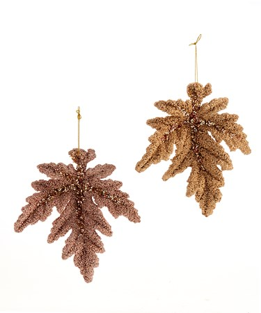 Plastic Gold Glitter Leaf Orn, 2 Asst.