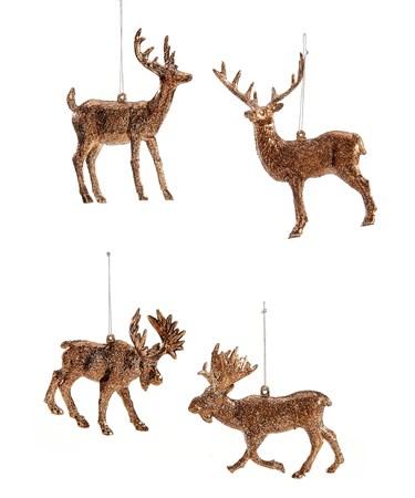 Plastic Deer/Moose Ornament, 4 Asst.