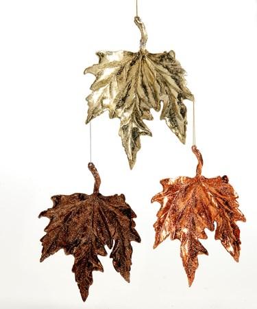Plastic Leaf Ornament, 3 Asst.