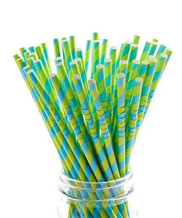 PaperStrawBlueGreenStripes