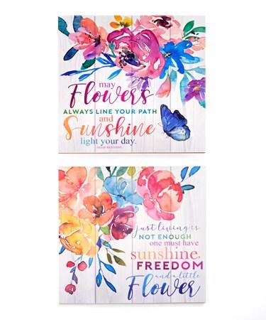 FloralWallPlaquewSentiment2Asst