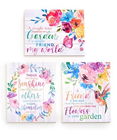 FloralWallPlaquewSentiment3Asst