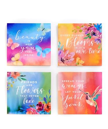 FloralWallPlaquewSentiment4Asst