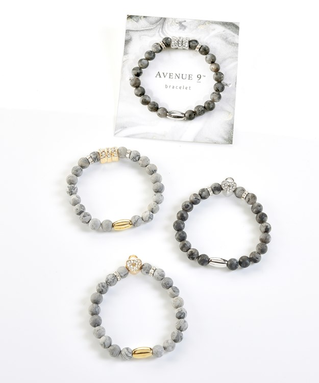 Beaded Bracelets, 4 Asst. w/Displayer