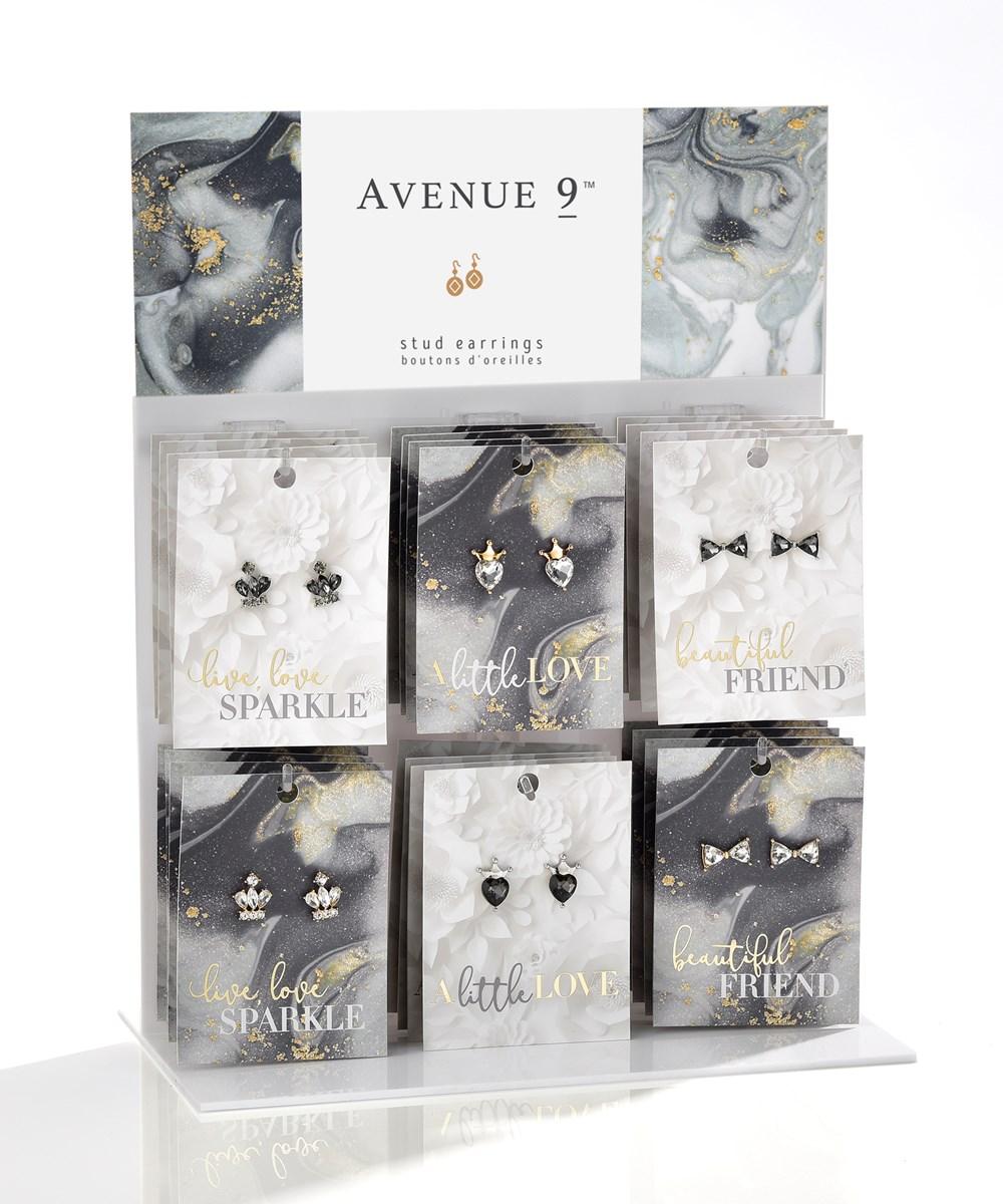 Stud Earrings, 6 Asst.