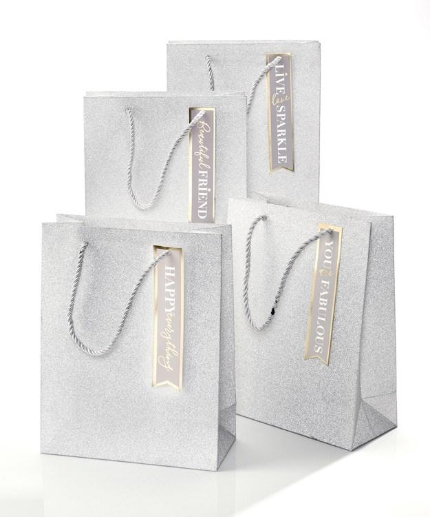 Silver Glitter Gift Bag, 4 Asst.