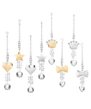 Glistening Ornaments, 8 Asst. w/Displayer