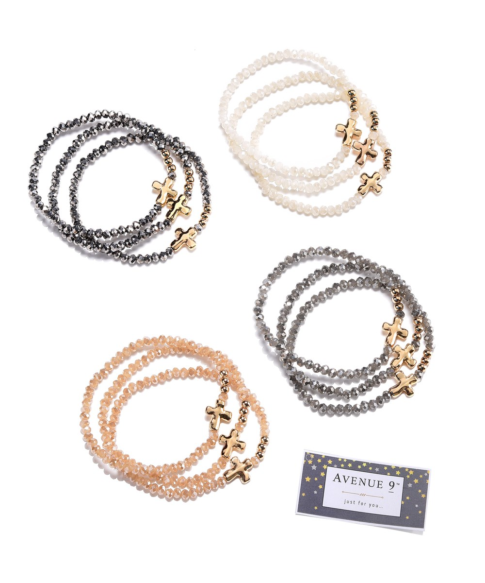 Beaded Bracelet, Set of 3, 4 Asst.