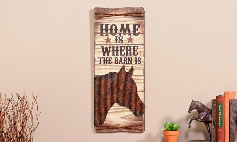 Home Is Where The Barn Is Horse MDF Wall Plaque,
