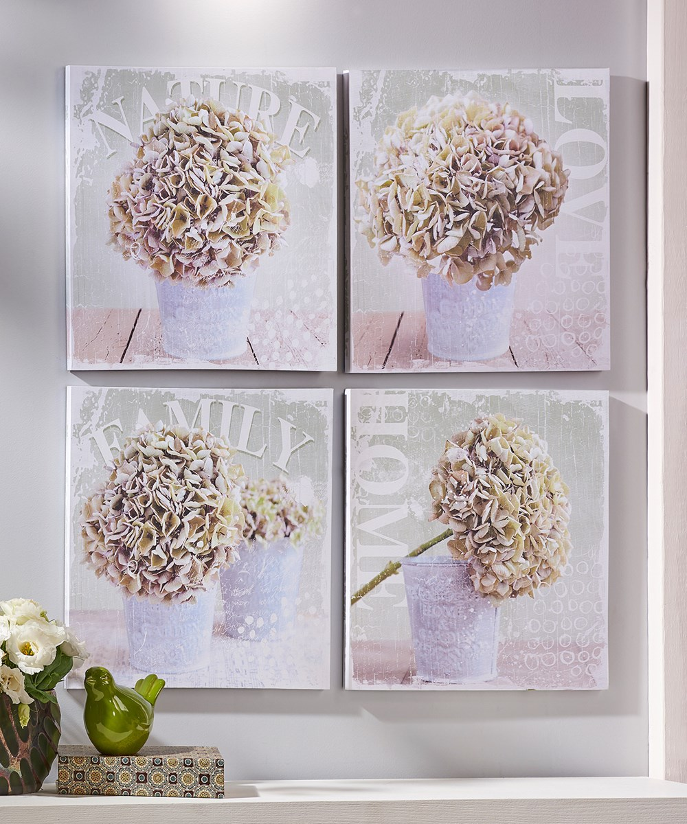 Floral Bloom Design Canvas Wall Print, 4/Asst.