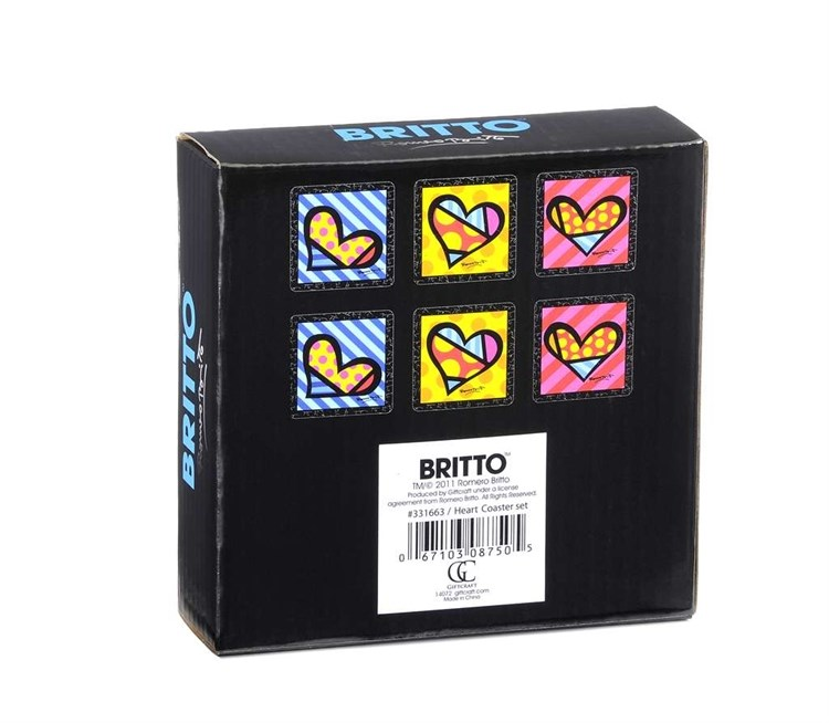 Romero Britto Coaster Set, Cocktail Design,  6/Set