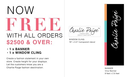 Charlie Paige Banner & Window Cling, 2/Set